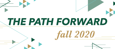 Illustration of collections of forward facing triangles with Path Forward Fall 2020