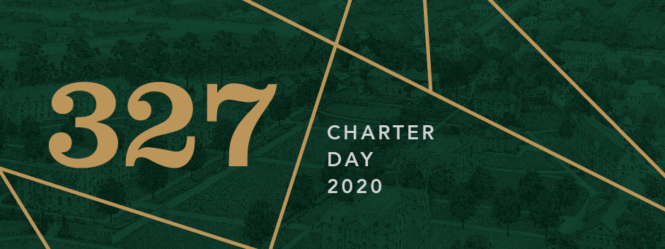 Green colorized aerial photo of campus with Charter Day 2020 and 327 text overlayed