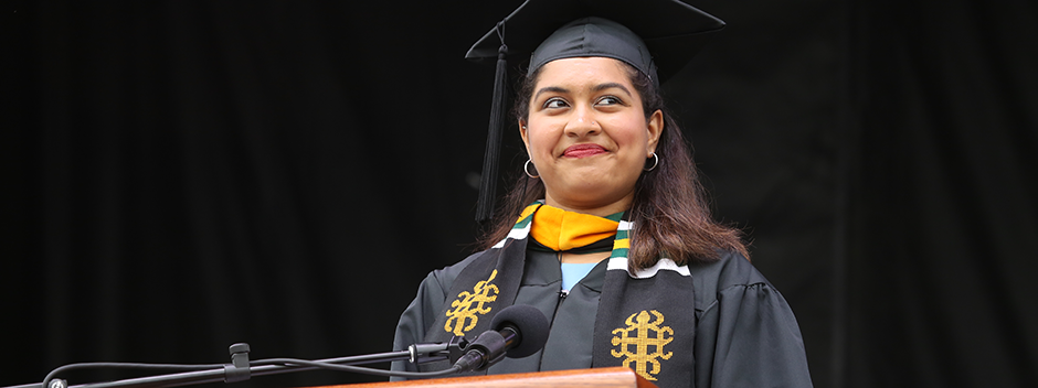 Student Commencement speaker, Rhea Sharma '19