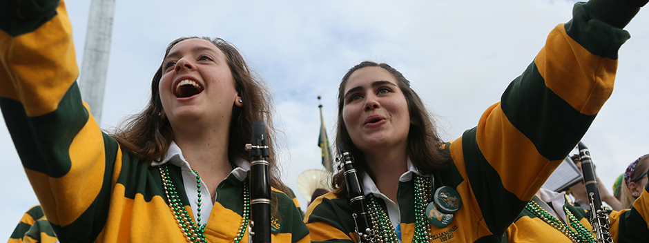 Two members of the Pep Band at Homecoming game